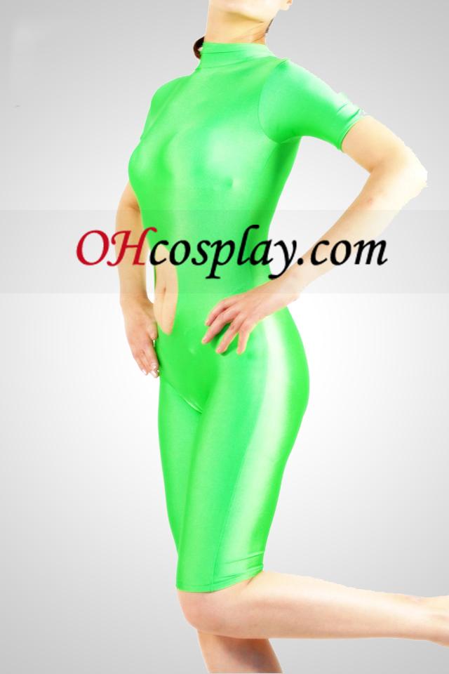 Zelena kratkimi rokavi Lycra Spandex Unisex catsuit