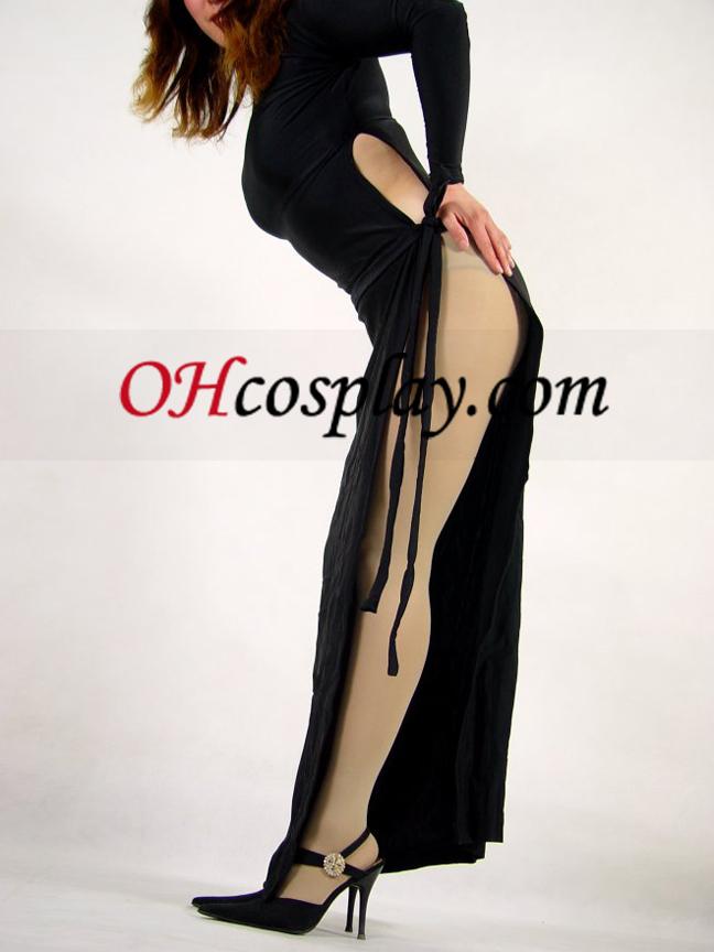블랙 라이크라 스판덱스 드레스