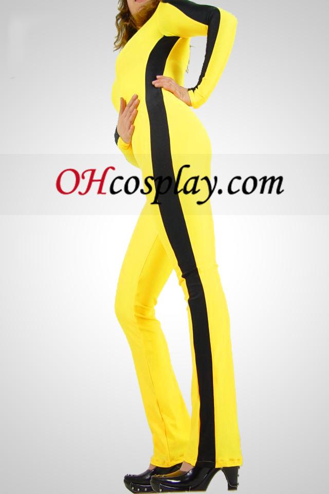 Yellow Black Bar Gym Lycra Spanbdex Catsuit