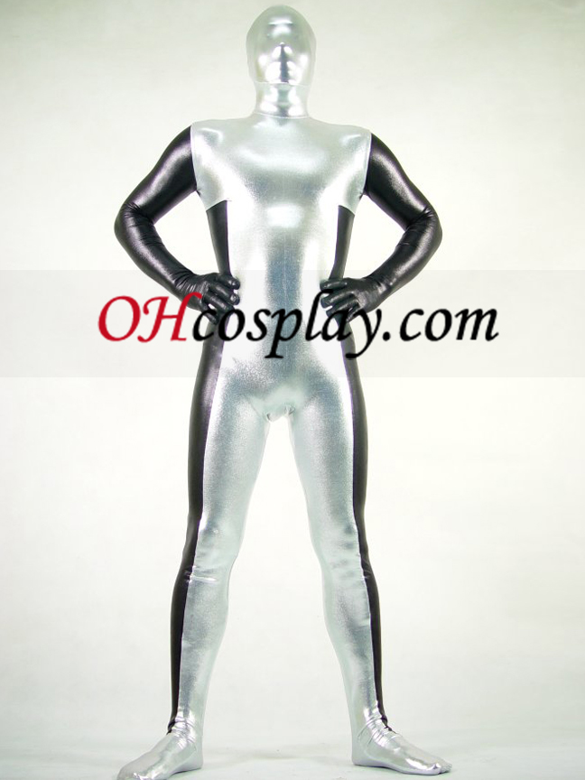 Black and White Lycra Spandex Zentai Obleky