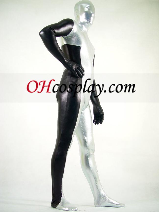Preto e Branco Spandex Lycra Zentai Suit