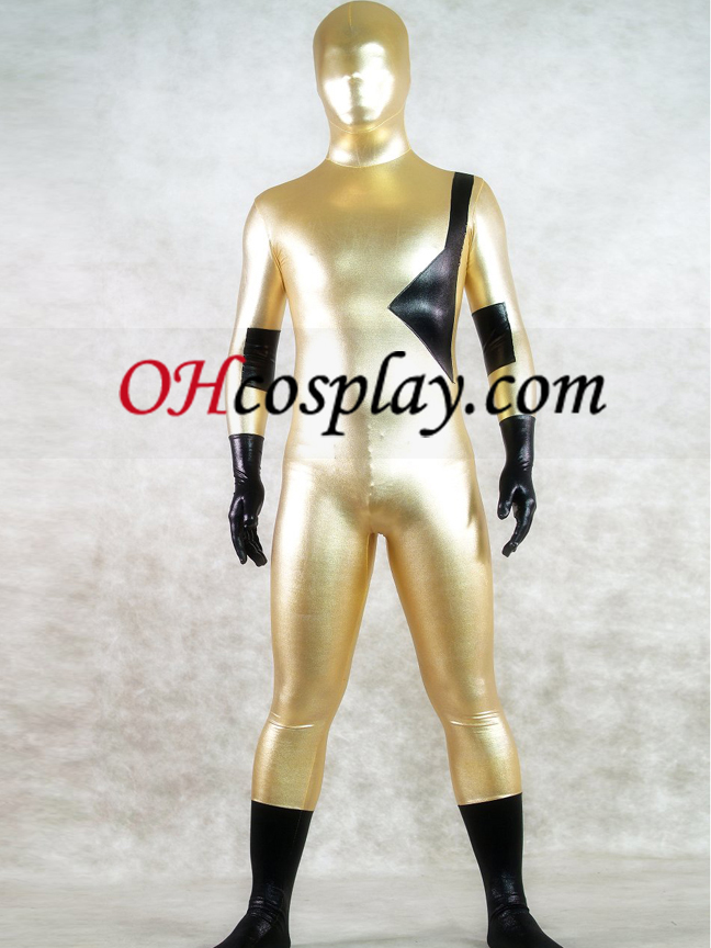 Shiny Metallic Gold in Black Unisex Zentai Obleky