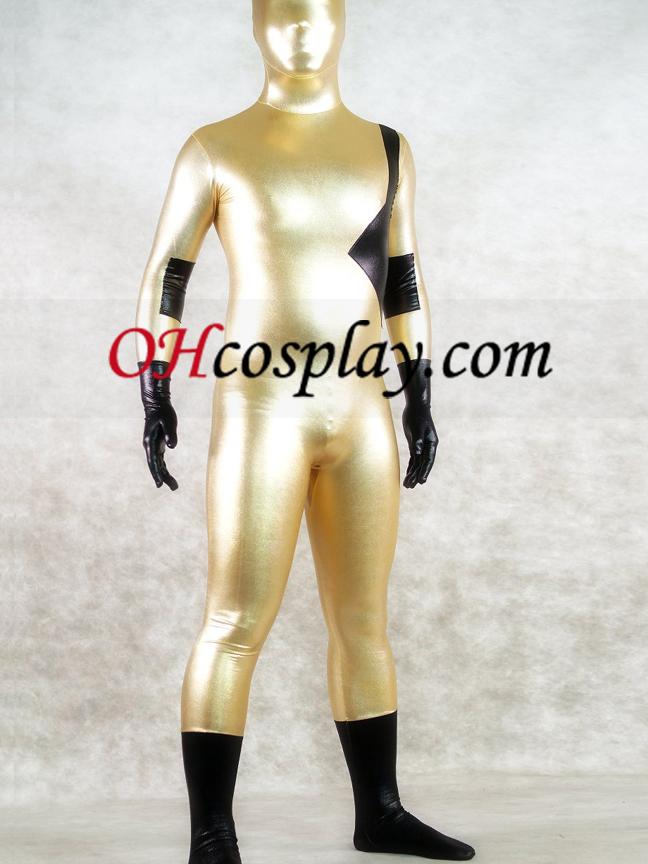 빛나는 금속 골드와 블랙 유니섹스 (남녀 공용) Zentai는 벌