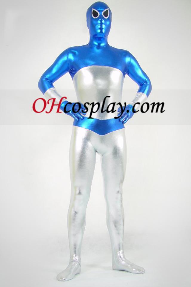 Bleu et argent métallique brillant Zentai Suit