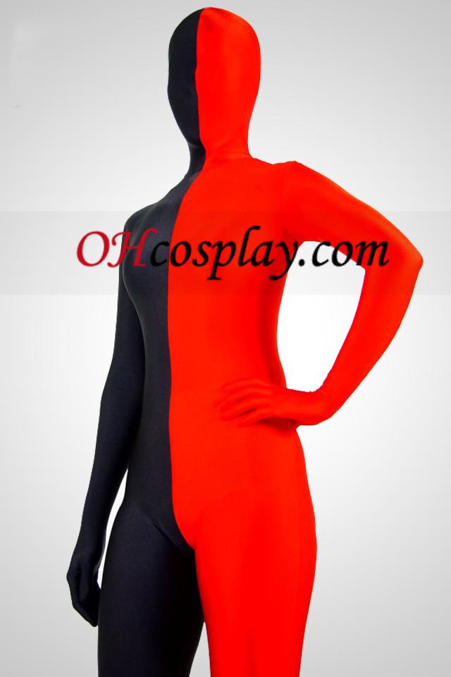 빨간색과 검은 색 라이크라 스판덱스 Zentai는 남녀 공통 한 벌