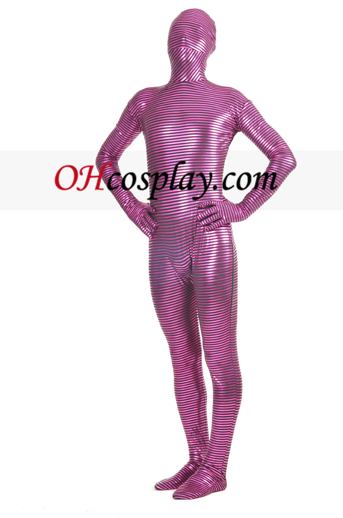 Unisex Gold Paint Striped Zentai Suit