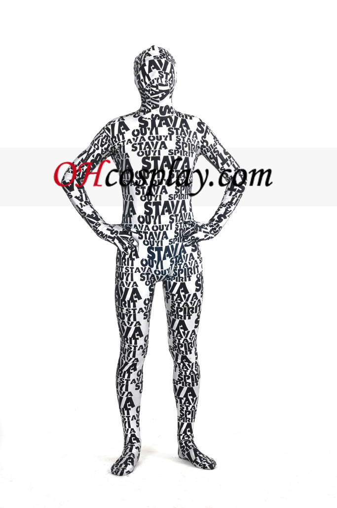 Letters Gold Paint Full Body Unisex Zentai Suit
