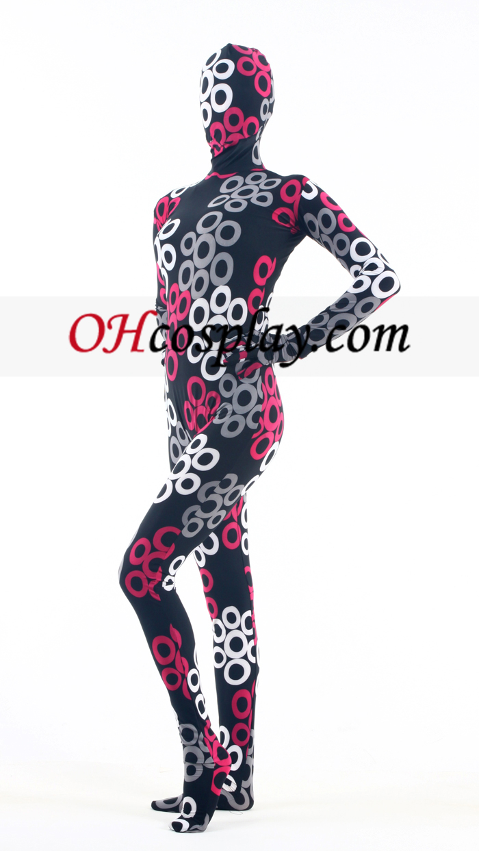 Black White Red Lycra Zentai Suit