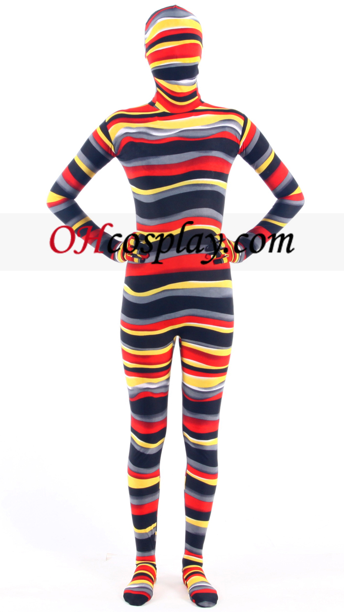 Striped Multi-color Lycra Zentai Kostuums