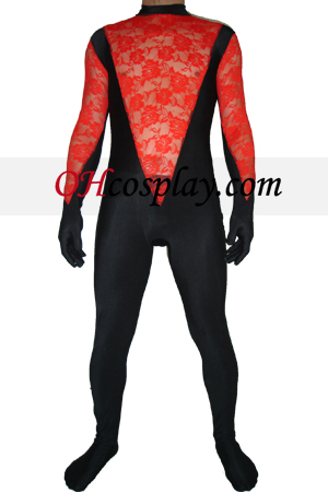 Black Red Lace Lycra Zentai Suit