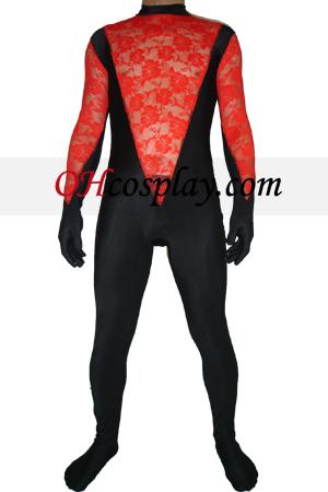 Black Red Lycra Lace Zentai Suit