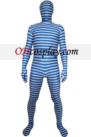 Azul Branco Lycra Zentai Suit
