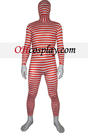 Κόκκινο Λευκό ριγέ Spandex Lycra Zentai Suit