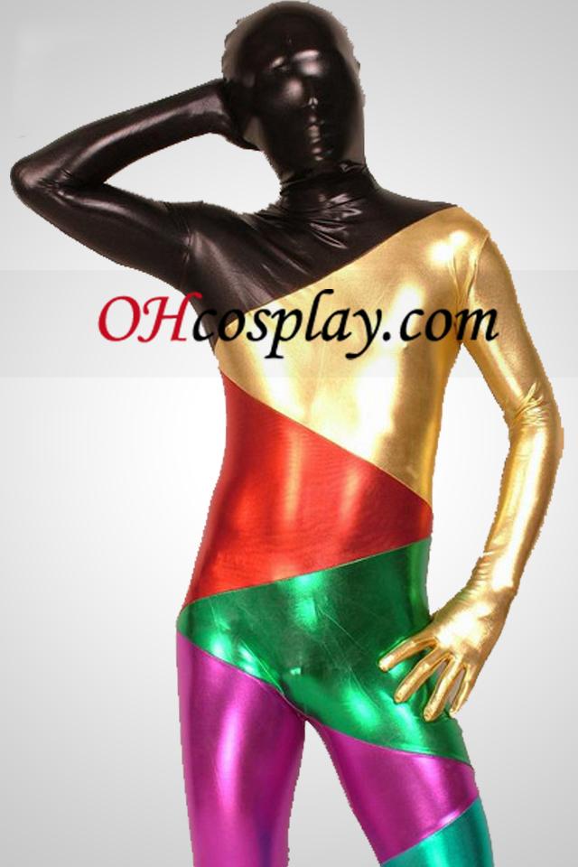 Multicolor Shiny Metallic Piece Together Zentai Suit