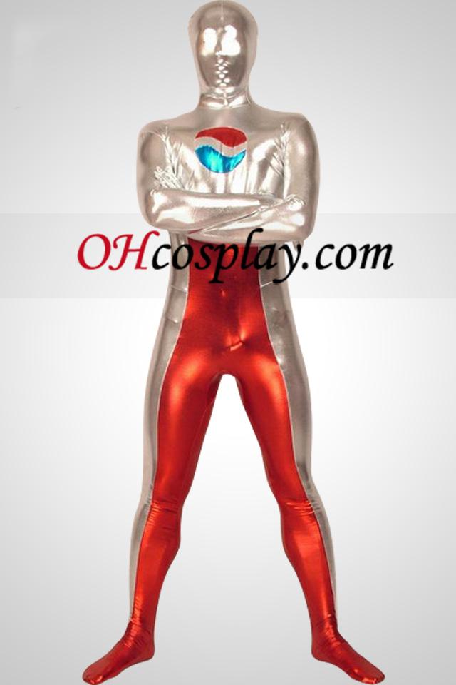 빨간색과 흰색 빛나는 금속 가득 차있는 몸 남녀 Zentai는 벌