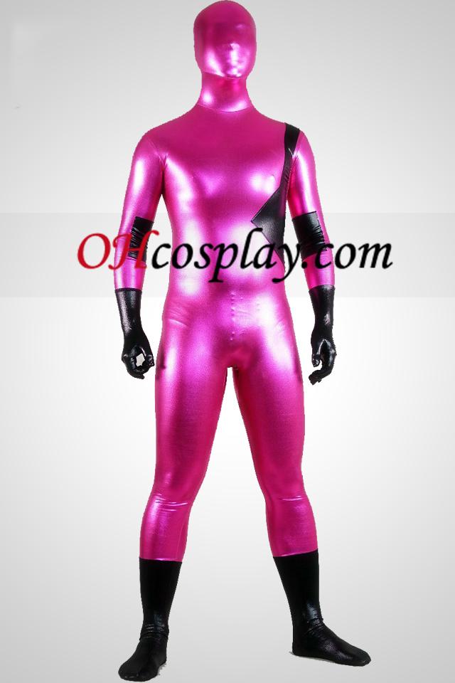 다크 핑크와 블랙 빛나는 금속 남녀 공통 Zentai는 벌