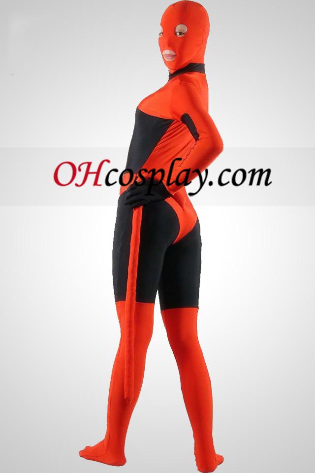 검은 색과 빨간색 라이크라 스판덱스 Zentai는 벌