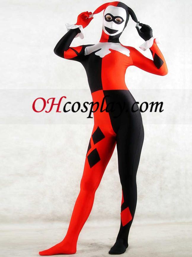 Branco e vermelho Spandex Lycra Zentai Suit Clown Unisex