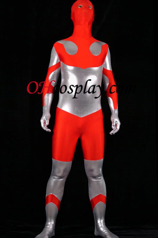 Red Lycra Spandex En Zilver Glanzend metallic Unisex Zentai Kostuums