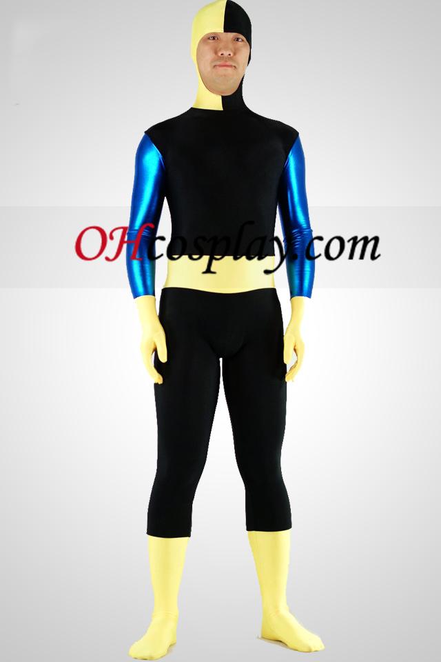 Preto Spandex Lycra Zentai Suit com rosto descoberto