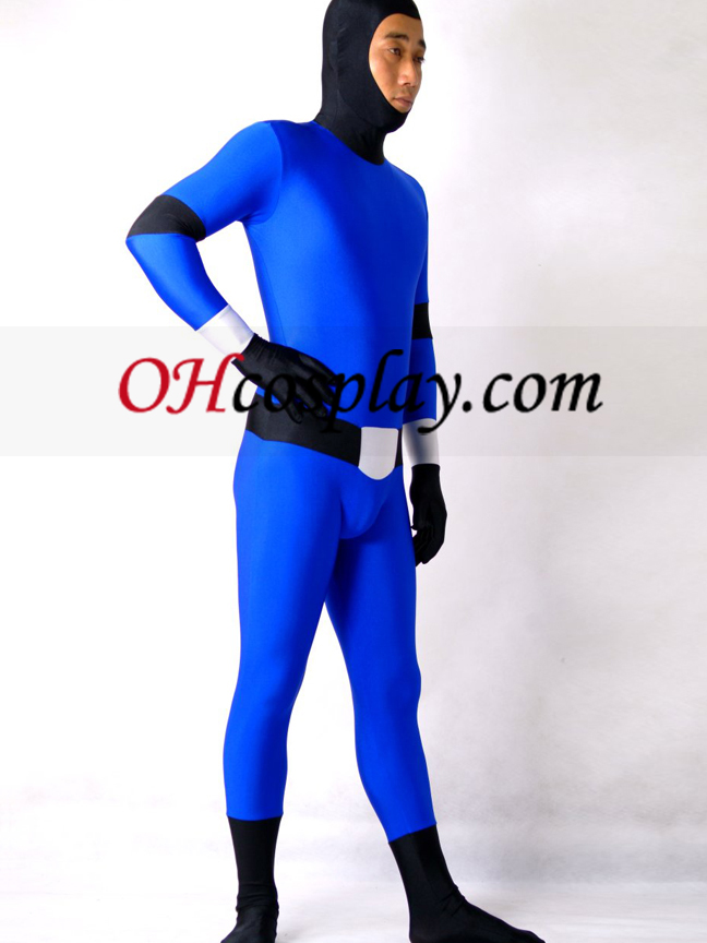 Blå og sort Lycra Spandex Zentai Suit Med Face Open