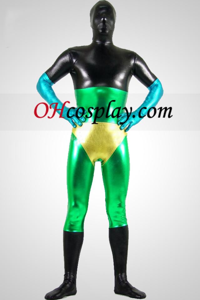 Zwart Groen Geel En Blauw Glanzend metallic Unisex Zentai Kostuums