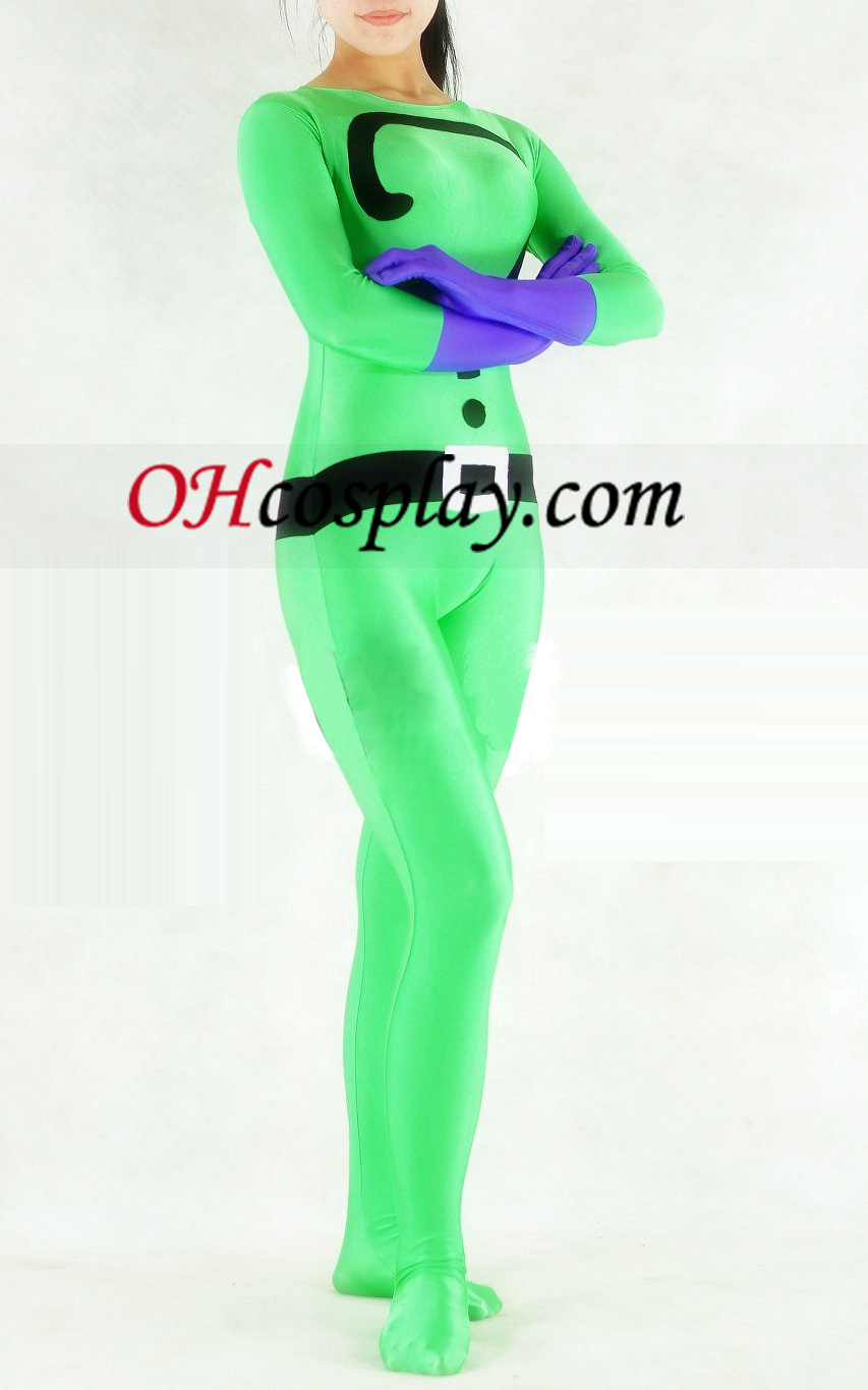 Question Mark Green Lycra Spandex Unisex Zentai Kostuums
