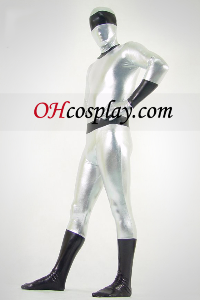 Silver And Black Shiny Metallic Zentai Suit