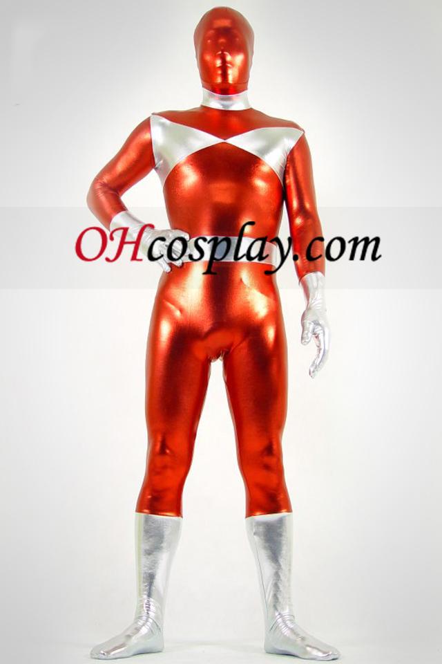 Prata e vermelho metálico brilhante Zentai Suit