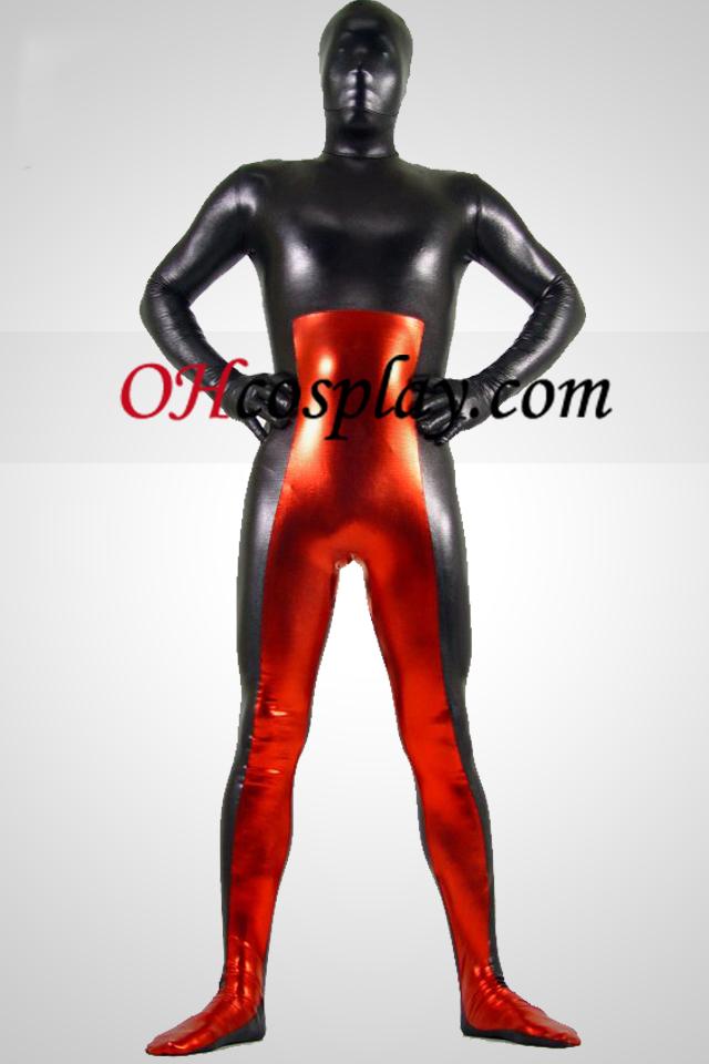 Schwarz und Rot Metallic Look Zentai Anzug