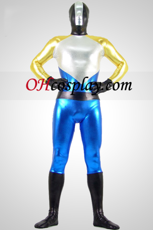 Shiny Metallic Silver and Blue Zentai