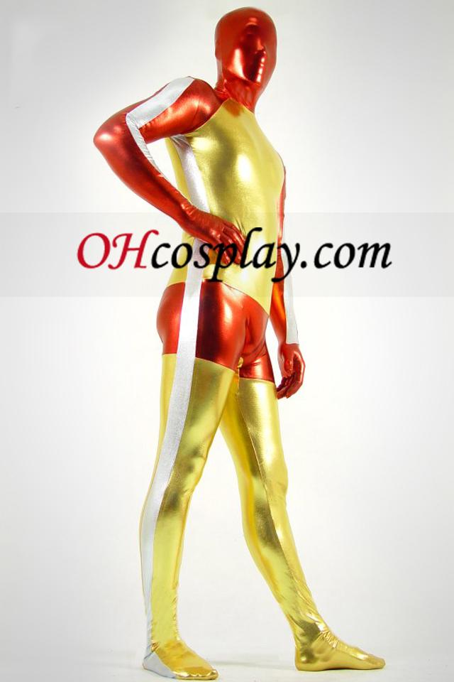 Shiny Metallic Goldene Rot und Weiß Zentai-Anzug