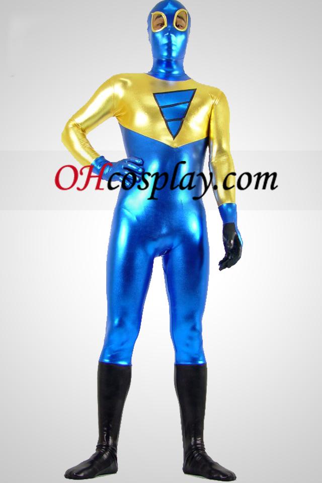 Shiny Metallic Golden Black and Blue Zentai Anzug mit Auge offen