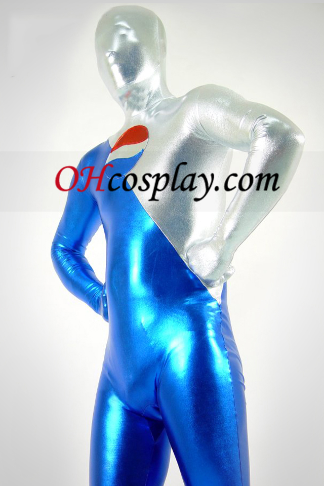 Shiny Metallic Silver e Blue Pepsi Zentai Suit