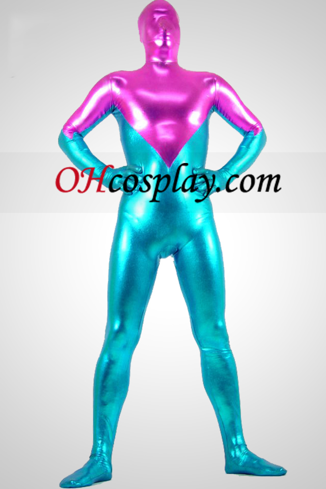 Blauw En Rose Glanzend metallic Zentai Kostuums