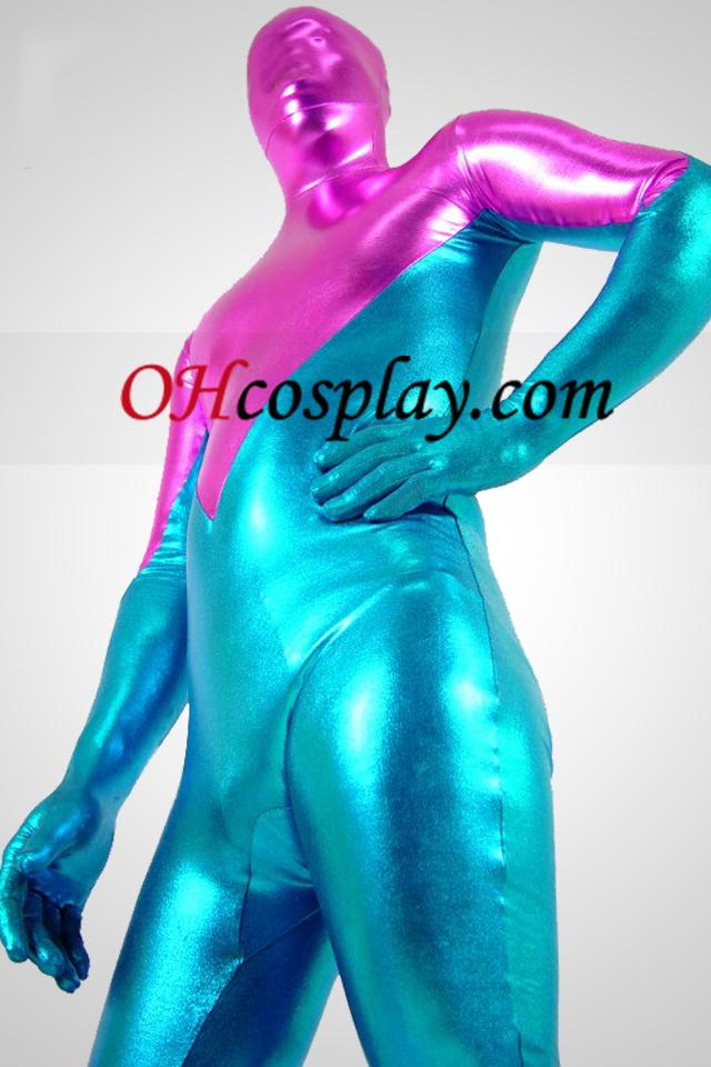 Azul e rosa brilhante metálico Zentai Suit