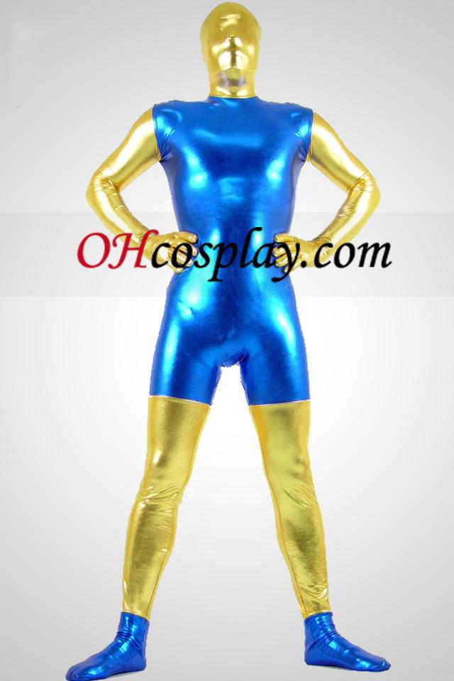 Azul e dourado brilhante metálico Zentai Suit