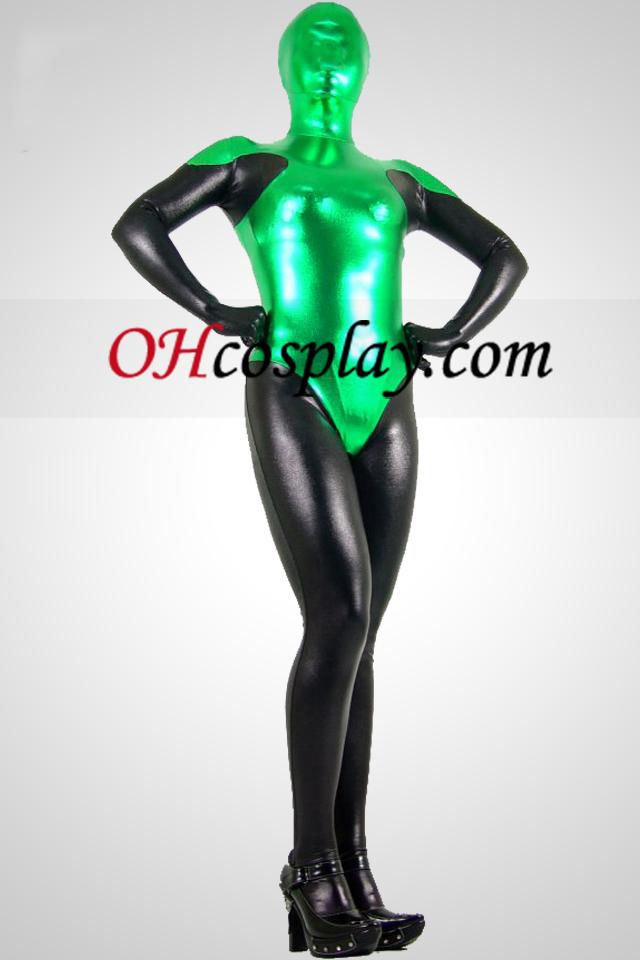 Schwarz und Grün Metallic Look Zentai Anzug