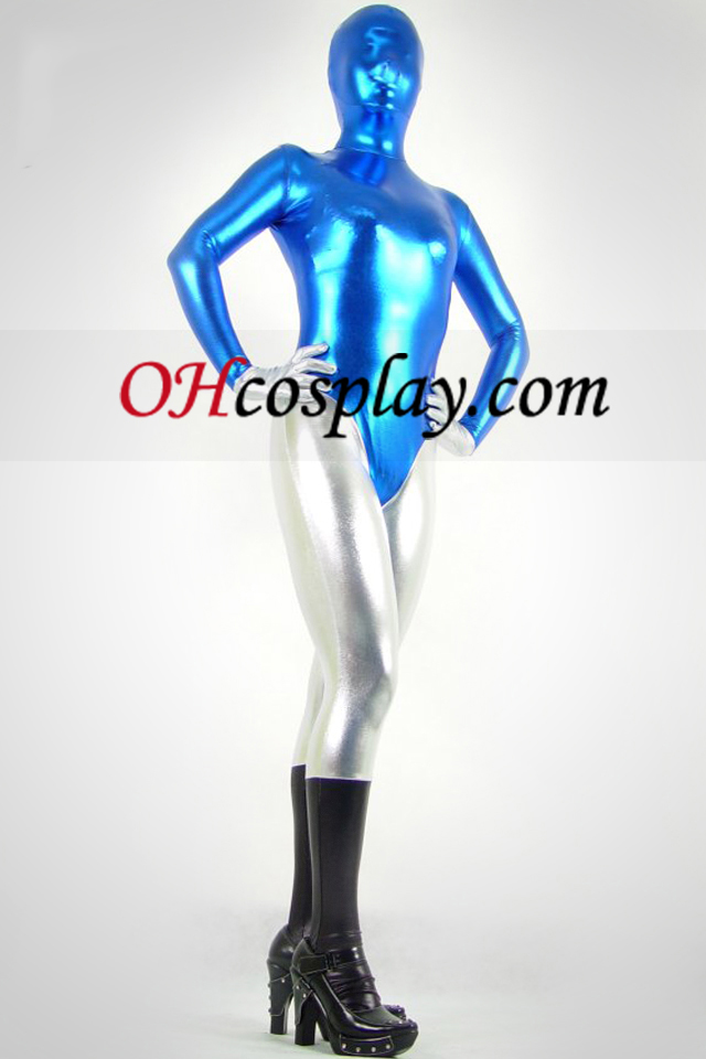 Bleu Noir et argent métallique brillant Zentai Suit