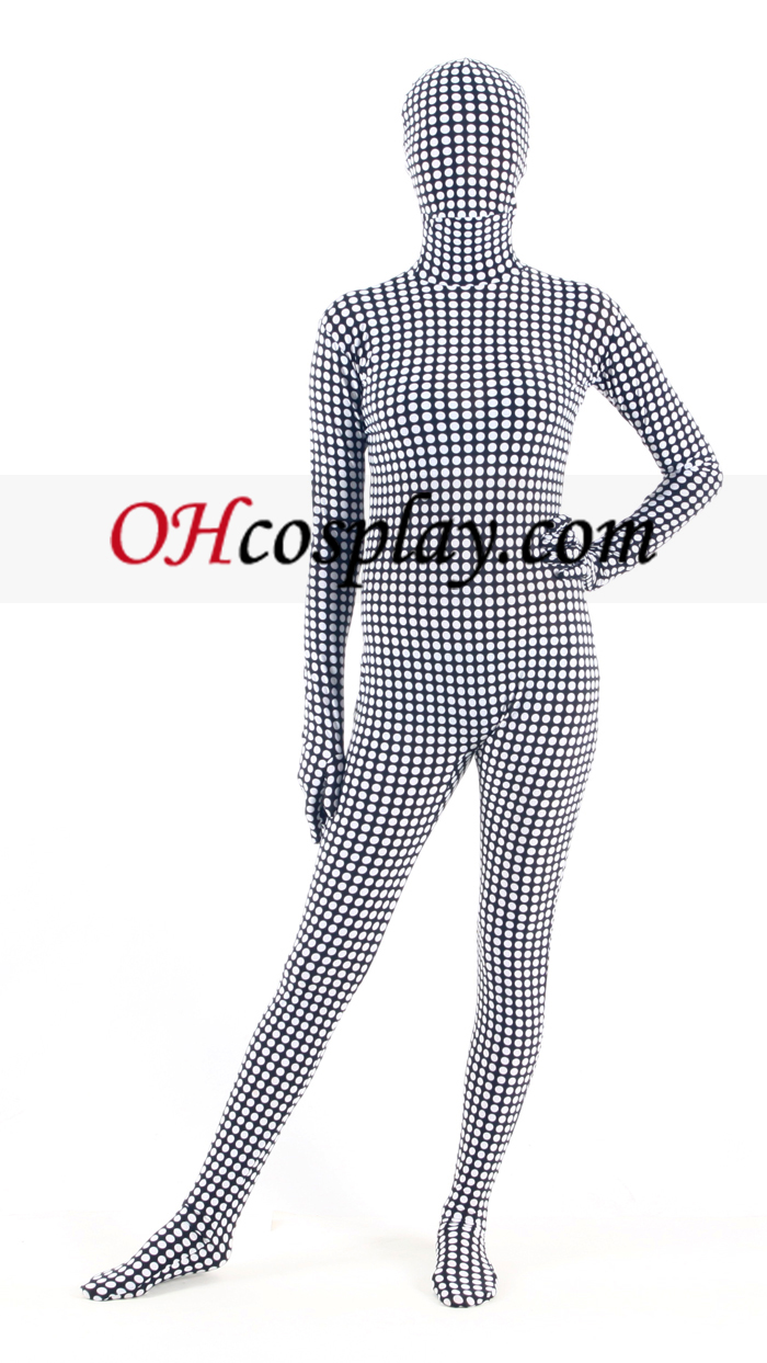 Black White Verifique Lycra Zentai Suit