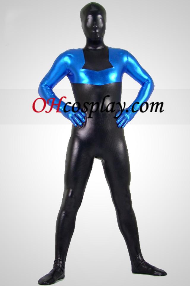 검은 색과 파란색 빛나는 금속 Zentai는 벌