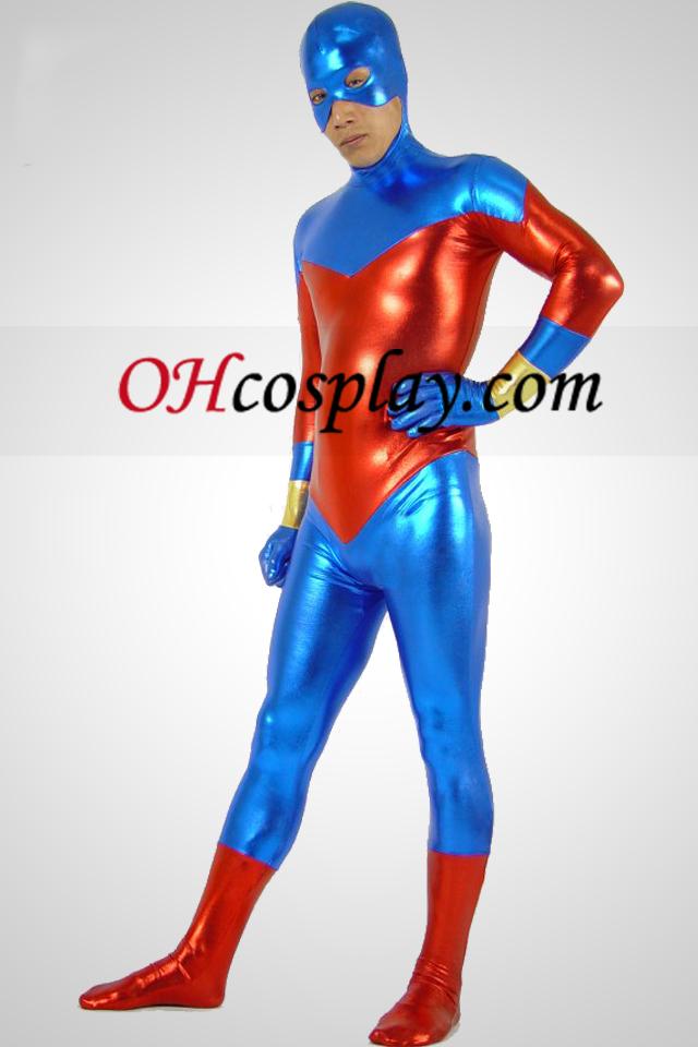 Blau und Rot Metallic Look Zentai Anzug