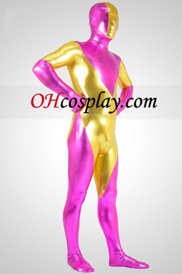 다크 핑크와 골드 금속 Zentai는 벌