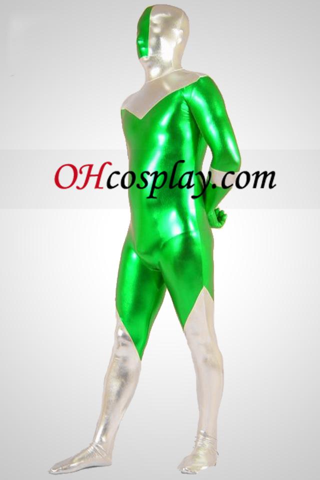 녹색과 실버 빛나는 금속 Zentai는 벌