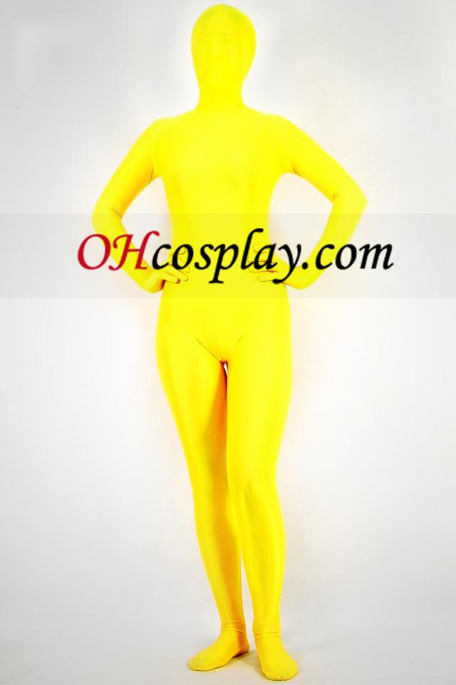 Gele Lycra Spandex Unisex Zentai Kostuums