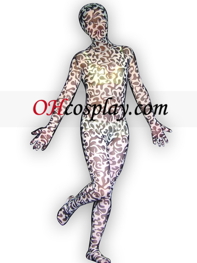 Black And White läpikuultavaa Silky spandex Zentai Suit