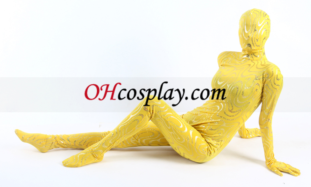 Yellow Lycra Gold Stripe Zentai Suit