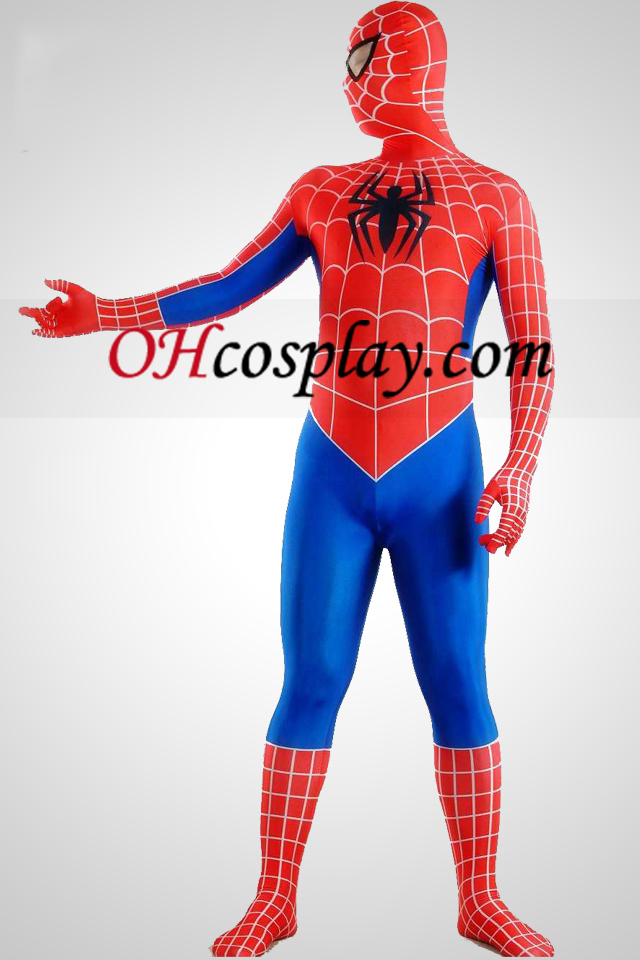 Listras azuis Red Spandex Lycra Zentai Suit Spiderman Superhero