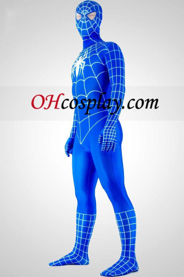 Azul e Branco Spandex Lycra Zentai Suit Spiderman Superhero