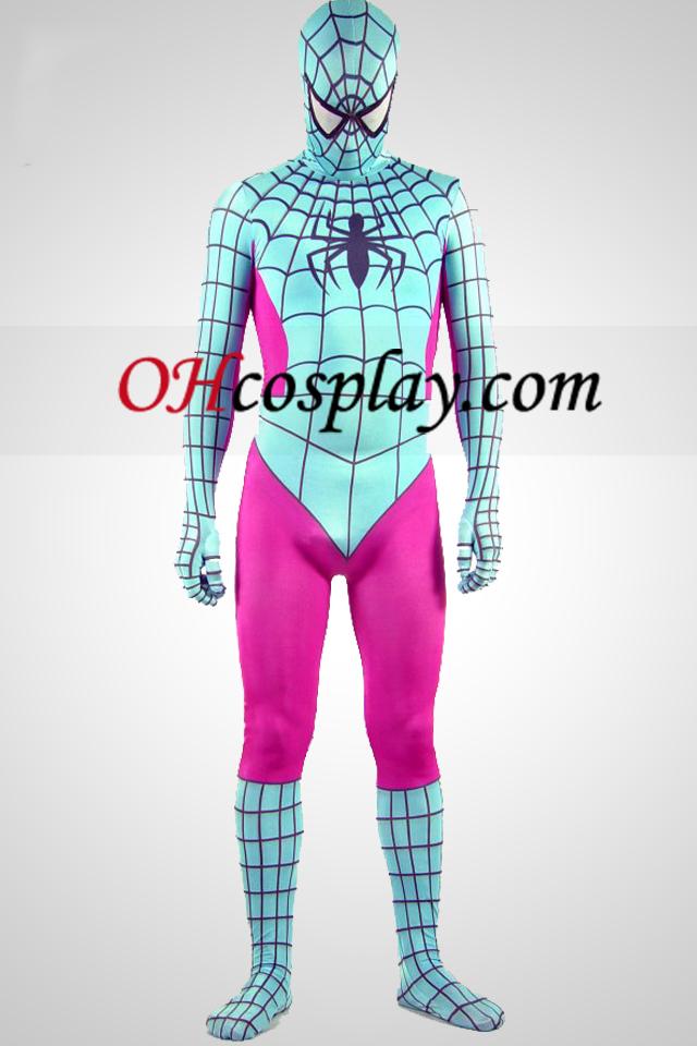 Luz verde e rosa Spandex Lycra Zentai Suit Spiderman